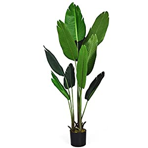 Goplus 5.3Ft Fake Banana Tree, Artificial Bird of Paradise Plant for Indoor Outdoor, Potted Greenery Plants for Home, Office, Lobby Decor