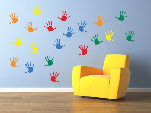 Vinyl Concept - Children's Wall Stickers, Nursery Handprints Wall , Kids Removable, Easy To Remove, Kids Wall Stickers, Art Mural, Art Decor, Sticker Diy Deco : Mixed As Pictured -- Small by Vinyl Concept