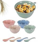 Set Schalen und Löffel, groß, leicht und unzerbrechlich - gefertigt aus Weizenstrohfasern - umweltfreundlich - geeignet für Geschirrspüler und Mikrowelle - für Müsli und Suppen - kinderfreundlich