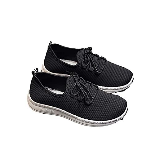 Fmkaieo Cómodas zapatillas deportivas casuales de mujer para hombre y mujer deportivas, zapatillas de baloncesto deportivas casuales, Negro , 36