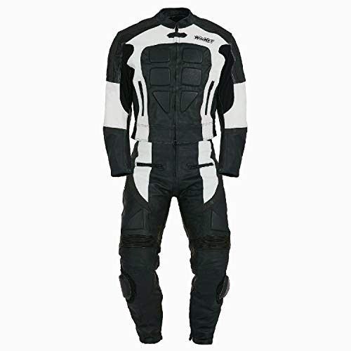 WinNet Tuta divisibile di pelle da moto giacca e pantaloni separabili in 2 pezzi (XL, BIANCO)