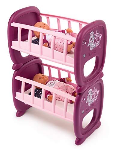 Smoby 220345 Baby Nurse Tweelingspop-bedje, poppenbed, babypop, voor kinderen vanaf 2 jaar, roze, lila