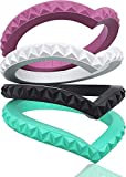 Designed Silicone Wedding Ring for Women by RINFIT. Set of Thin and Stackable Rings. 3 & 4 pack. (Purple, White, Black, Aquamarine, 7)