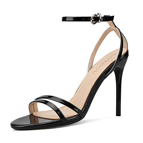 GOXEOU Sandalias de moda para mujer PU con correa de tobillo estilo de dibujos animados punta redonda tacón de aguja moda Oficina señora Casual talón de fiesta sandalia, color Negro, talla 40.5 EU