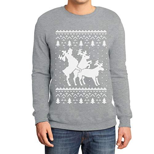 Shirtgeil Christmas Ugly Sweater Renne Natale Threesome Sex Felpa/Maglione da Uomo XX-Large Grigio