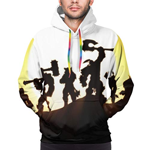 World of Warcraft Warlords of Draenor Hoodie Unisex 3D All-Over Printed Lightweight Pullover Mens Womens Hooded Sweatshirt. XL Black