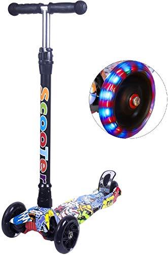 Yuanj Scooter Kinderroller, Dreiradscooter für Mädchen und Jungen 3-13 Jahre alt, Höhenverstellbarer Kickscooter mit hinterer Sicherheitsbremse, Graffiti Roller Kinder mit PU Räder