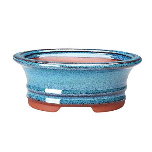 Lecimo Macetas de Flores Maceta de Bonsai China Maceta esmaltada Azul, 15 * 11,3 * 5,6 cm