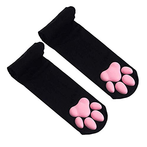 Marxways_ Oberschenkel Hohe Socken Süße rosa Katzenpfoten-Polstersocken Kätzchenstrumpf Thigh High Socks Cute Pink Cat Paw Pad Socks Overknee Warm Socks for Women Kitten Stocking (Schwarz)