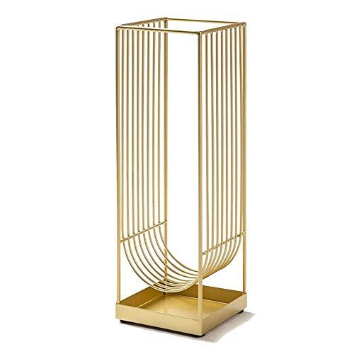 portaombrelli Quadrato Oro, per Ingresso Casa Ufficio Porta Negozio Ombrello con Manico Lungo, Supporto in Metallo Autoportante