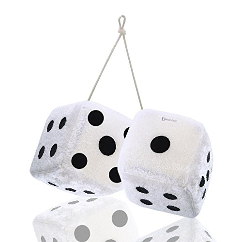 Zento Deals Pair of Hanging White with Black Dots Fuzzy Dices Nostalgic Retro