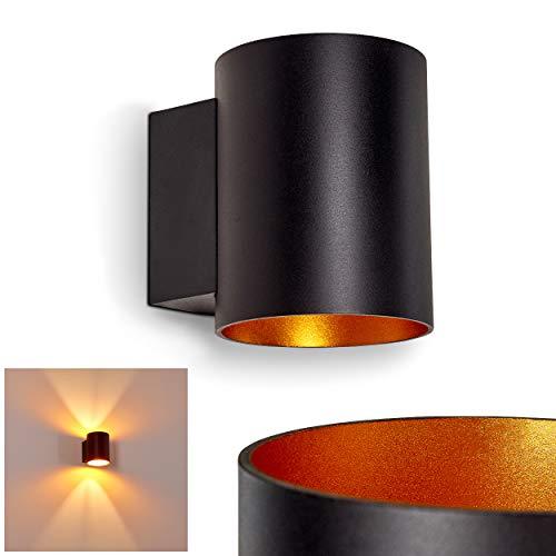 Wandlampe Letsbo aus Metall in Schwarz/Gold, moderne Wandleuchte mit Lichteffekt, 1 x G9-Fassung, max. 40 Watt, Innenwandleuchte mit Up & Down-Effekt, geeignet für LED Leuchtmittel