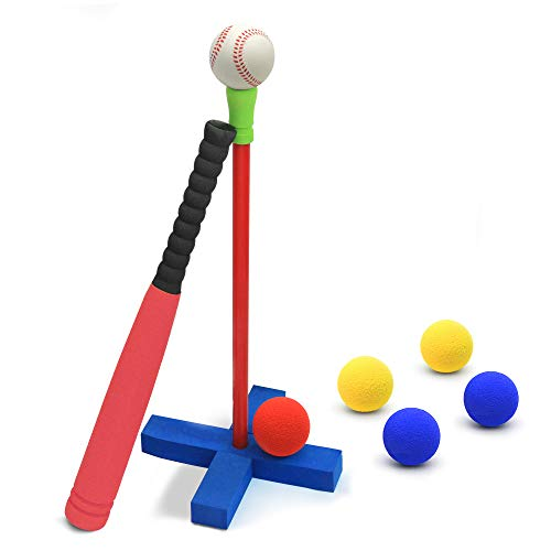 CeleMoon 21 Inch Kids Foam TBall Baseball Bat Set Toy, 6 Colorful Balls + Carrying Bag Included, for Kids 3 4 5 6 Years Old, Red
