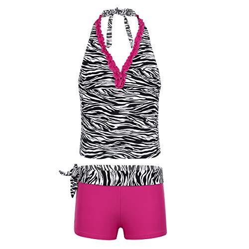Agoky Mädchen Tankini Set mit Shorts und Rock 3 PCS Badeanzug Oberteile Tank Top Baderock Badeslip zum Schwimmen Schwimmanzug in Lila gr. 98-164 Pink C 122-128