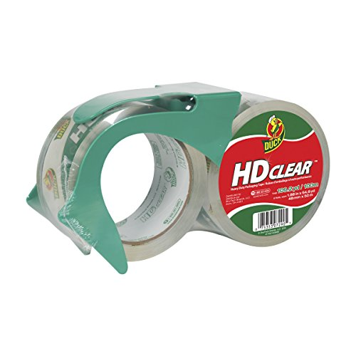Duck HD Clear Heavy Duty Packing Tape with Dispenser, 2 Rolls, 1.88 Inch x 54.6 Yard, (393184)