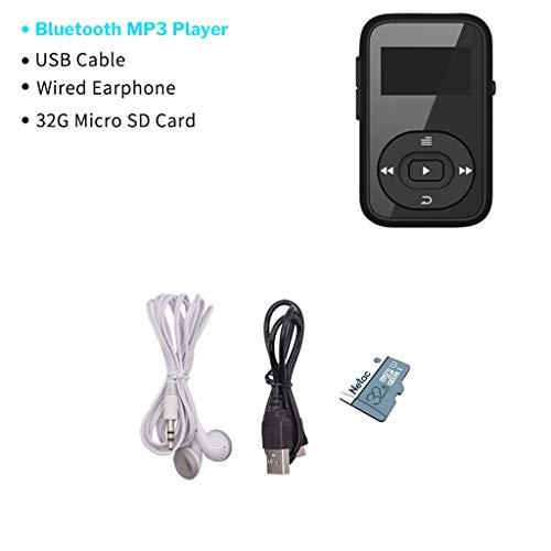 OLPvh MP3-speler, sport, MP3-speler, bluetooth, digitale clip, 8 GB, mini met beeldschermrecorder, FM-radio, stappenteller, ondersteunt TF-kaart, MP3, muziekweergave, Paquet B