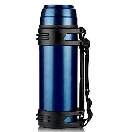 Simple Couleur Bleue Maison Pot d'isolation de Grande capacité Thermostat Portable extérieur 304 Bouteille d'eau Chaude en Acier Inoxydable 48 Heures d'isolation (39,5 * 11,5 cm), 2,5L