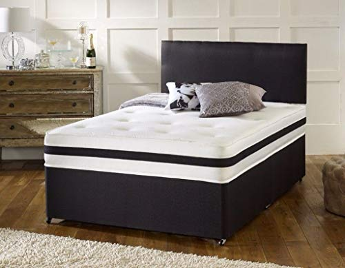 Revive Direct | New Black Leather Divan Bed Set with a 10' Pocket Sprung Memory Foam Mattress and Free Matching Headbord