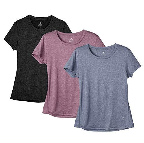 icyZone Camiseta deportiva de manga corta para mujer negro, azul marino, rosa vino. L