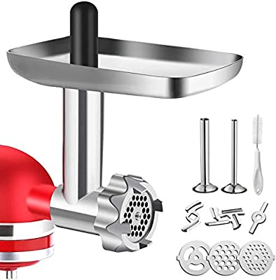 Metal Food Grinder Attachment for KitchenAid Stand Mixers, G-TING Meat Grinder Attachment Included 2 Sausage Stuffer Tubes, 3 Grinding Blades, 3 Grinding Plates