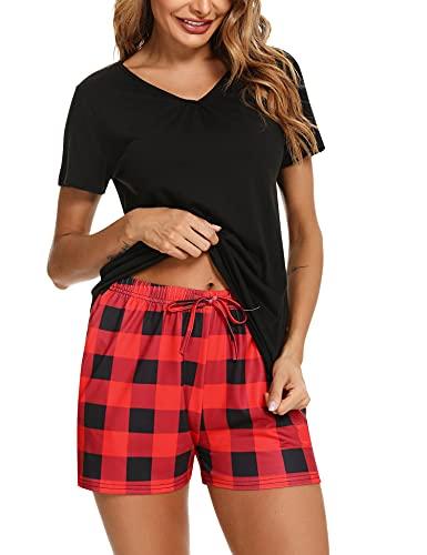 Doaraha Pijamas Verano Mujer Ropa de Dormir Algodón Pijama Mujer Corto Pijamas Mujer Suave Cómodo y Transpirable Pijamas de Dos Piezas para Hogar y Casual