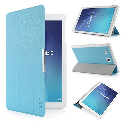 iHarbort Samsung Galaxy Tab E 9.6 custodia in pelle, ultra sottile di peso leggero Case Cover custodia in pelle per Samsung Galaxy Tab E 9.6 pollice T560 T565 Holder (Galaxy Tab E 9.6, azzurro)