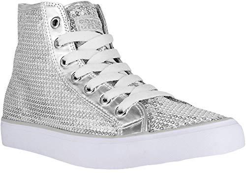 Gotta Flurt Hi Disco II Girls Hi-Top Sequin Sneaker, Silver Dance Sneakers, Silver, 9
