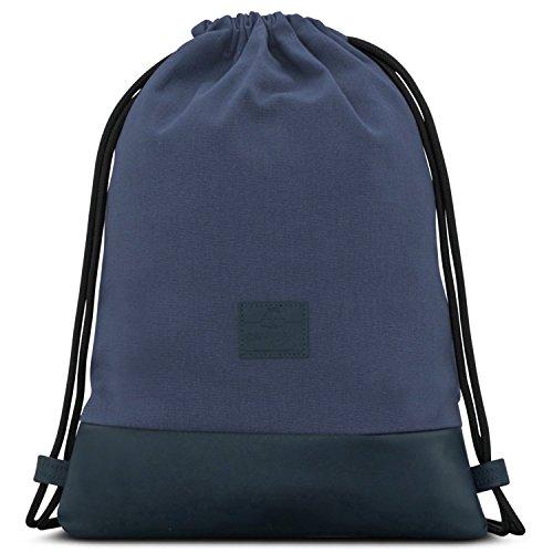 Mochila de Cuerda Azul/Azul Oscuro - JOHNNY URBAN Bolsa de Cuerdas para Hombre Mujer Niños y Adolescentes - Mochilas Cordón de Gimnasio - Bolsa Deporte de Algodón y Cuero Vegano