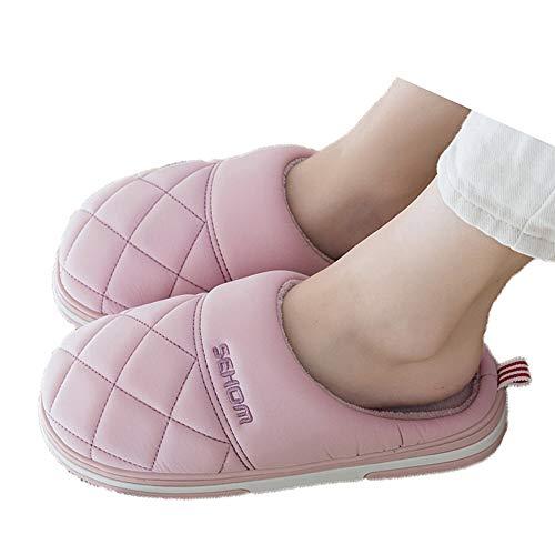 Fudeer Zapatillas Casa Mullidas Impermeables Mujer Toboganes Felpa Cálidos Piel Sintética Acogedora Antideslizante Zapatos Dormitorio Espuma Viscoelástica Interiores Exteriores,Rosado,M