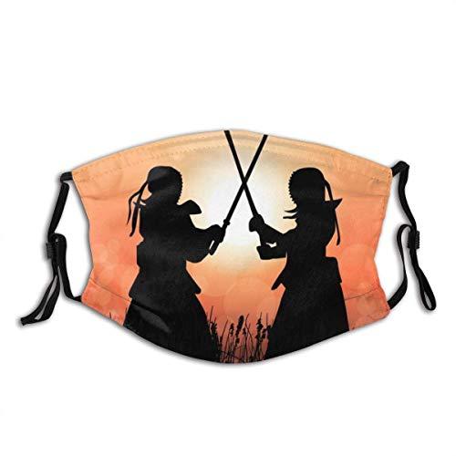 Kendo Master Fight im Sonnenuntergang Bandana FA-Ce Co-Ver FA-Ce Mas-Ke Gesichtsdekorationen Kopfbedeckung mit Filtern