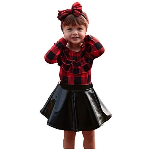 Baby Kinder Mädchen Große kleine Schwestern Passende Outfits Rot Plaid Rüschen Langarm Shirt Top Lederrock Minikleid Stirnband Kleidung Set Kids Mode Leder Bekleidung Sets