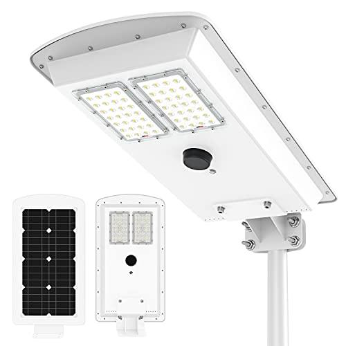 TENKOO Solar Street Lights Outdoor Dusk to Dawn 8000 Lumens Motion Sensor Photocell Sensor Security LED Solar Flood Light for Parking Lot Stadium Garden Pathway