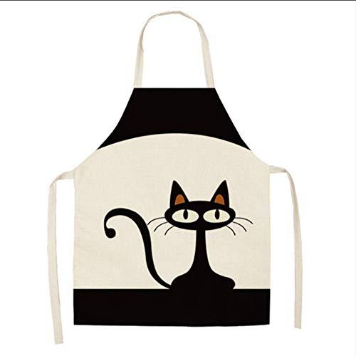 Cczxfcc 1 stuk keukenschort schattig cartoon kat bedrukt katoenen vest mouwloos voor heren dames huishoudreiniger 53 x 65 cm, F