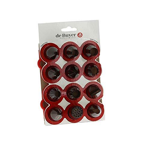 De Buyer 4150.04 Caja mixta, 12 boquillas de tritán y soporte