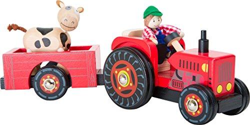 """Small Foot 10316 Traktor mit Anhänger """"Bauernhof"""" aus Holz,mit Biegepuppen Bauer und Kuh und Gummibereifung,ab 3 Jahren Spielwelt"""