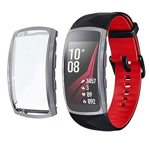 Hülle für Samsung Gear fit 2 Pro,BJJH Ultra-Slim TPU Schutzhülle Kratzfest Abdeckung Rundherum Schutz Schlankes Case Cover für Samsung Gear fit 2 Pro (Grau)