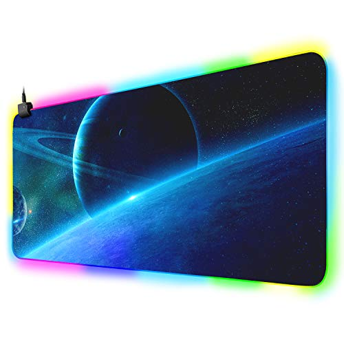XYK XXL Large Extended RGB Gaming Mouse Pad with 12 Lighting Modes, Durable Stitched Edges and Non-Slip Rubber Base LED Computer Mouse Mat for Working, Gaming, Office, 31 5x11.8 in