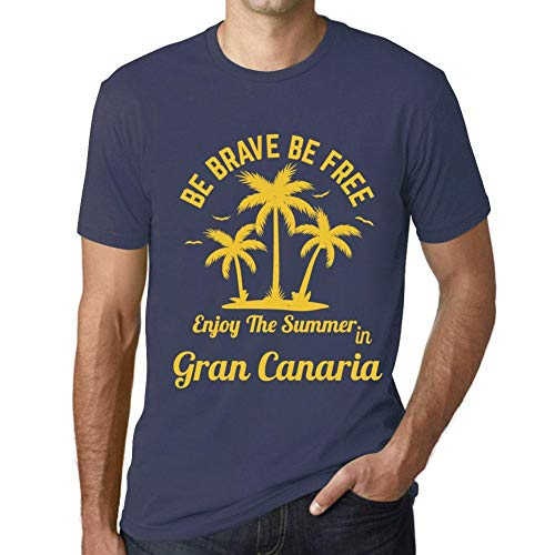 Hombre Camiseta Gráfico T-Shirt Be Brave & Free Enjoy The Summer Gran Canaria Azul Oscuro