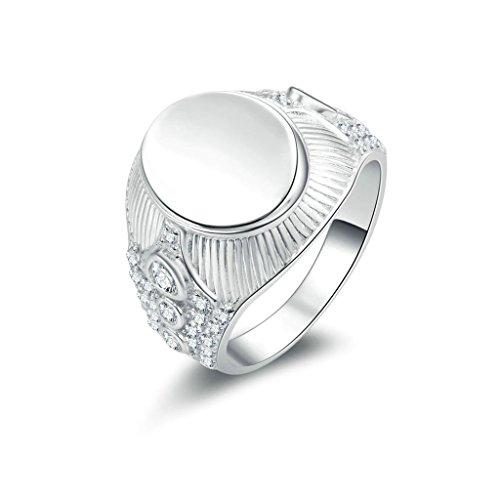 Daesar Silberring Herren Ring Silber Trauring Benutzerdefinierte Ring Runde Strass Ring Größe:62 (19.7)