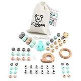 RUBY - Set 4 piezas Chupeteros con nombre personalizable, collar lactancia, sonajero para bebé de silicona y madera, kit cesta de regalo para recien nacido (Turquesa Pastel)