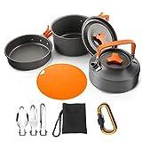 WT9 Kit de Utensilios Cocina Camping, Set de Utensilios de Cocina de Camping, Antiadherente, Bolsa de Malla con Mochila para Acampadas, Senderismo, Picnic