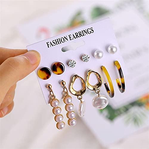 FEARRIN Conjunto de Pendientes para Mujer Conjunto de Pendientes Pendientes con borlas de Perlas para Mujer Pendientes Colgantes Dorados acrílicos de Boda Accesorios de joyería Boho LNI0807-3E