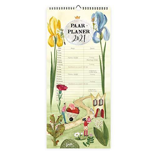 Planer für 2 für 2021 | Monatsplaner als Wandkalender mit 2 Spalten, ab Dez 2020 | Übersichtlicher Kalender zum Aufhängen, mit Wochennummern, für zwei Personen