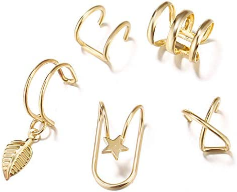 Modyle 18K Gold Plated Ear Cuffs Leaf Clip Earrings for Women Climbers No Piercing Fake Cartilage product image