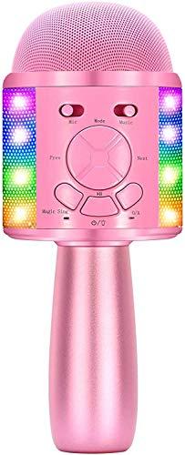 Microfono Cambia Voce Bambini, BONAOK Microfono Karaoke Wireless Bimbi,Microfono Colorato Modifica Voce, Festa a casa Karaoke con Effetto Eco,Feste a Casa per iPhone/Android,Smartphone Rosa