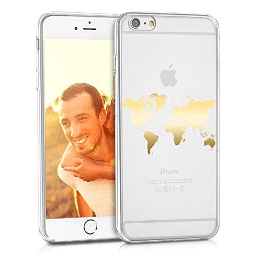 kwmobile Cover Compatibile con Apple iPhone 6 Plus / 6S Plus - Back Case Custodia Posteriore in Silicone TPU Cover per Smartphone - Back Cover Contorni Oro/Trasparente
