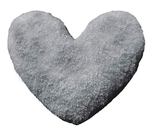 NIGHTZONE Teddy Bear Heart Shape Fleece Filled Cushion in soft comfortable warm & cozy Home Decor Size 30cm (Teddy Bear Heart Grey / Silver)