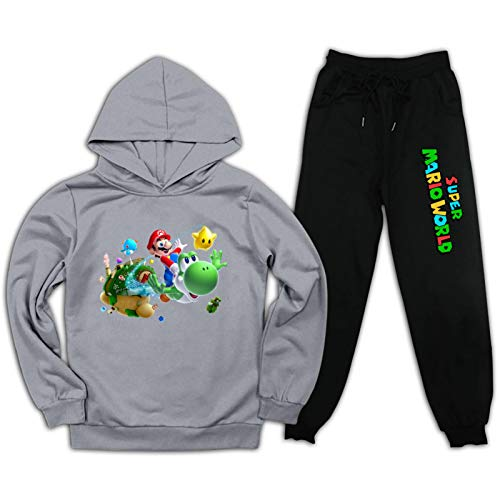 Su-per Ma-Rio Bros Kids 3D Print Hoodie Sweatpants Suits Casual Pullover Sweatshirt Set Outfit for Boys Girls Grey and Black M
