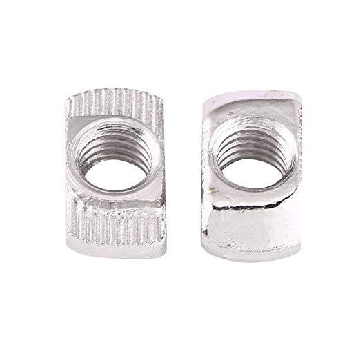 50pcs T-Nut Hammer Kopf Mutter M4, M5, M6, M8 verzinkt Silber Kohlenstoff Stahl Fastener Aluminiumprofil Extrusionsschlitz Europäische Norm(EU30-M6*16.5 * 8)