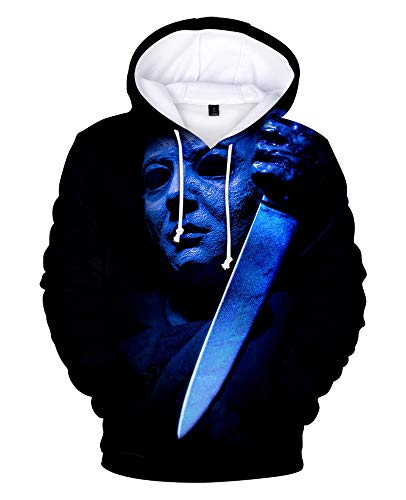 Dahee Adult Michael Myers Hoodie 3D Printed Hooded Pullover Sweatshirt Jacket for Halloween (XL, Color-17)